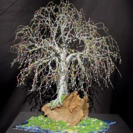 Sal Villano: 'Bonsai Island,  Wire Tree Sculpture ', 2008 Mixed Media Sculpture, Landscape. Artist Description:  Bonsai Island # 2 - Wire Tree Sculpture Wire Tree Sculpture- 13