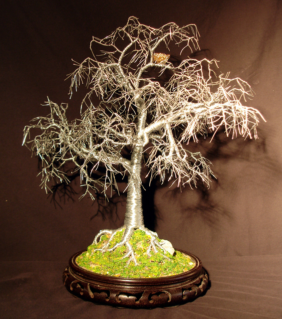 Sal Villano Winter Bird Nest   Wire Tree Sculpture 2011