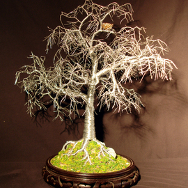 Beaded Oak  Wire Tree Sculpture