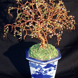 beaded bonsai wire sculpture