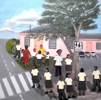 Samantha Lewis: 'A Day at School', 2016 Acrylic Painting, Children.  Based in the Bahamas. Children in the School Yard playing after school. Some engage in ring play while others talk and share jokes. ...