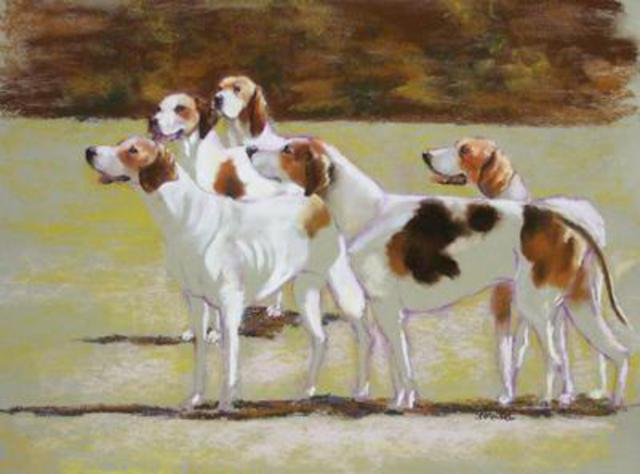 Sallyann Mickel  'Five Foxhounds', created in 2004, Original Painting Oil.