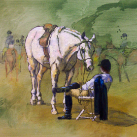 Sallyann Mickel Artwork Waiting for the Results, 2009 Oil Painting, Animals
