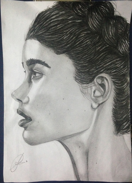 Sameer Asif  'Side Way Portrait', created in 2019, Original Drawing Pencil.