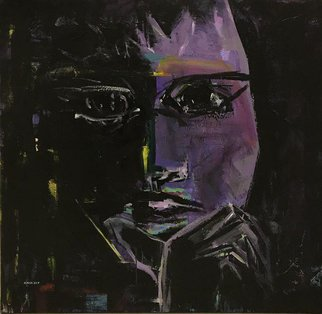 Samira Nikfarjam: 'waiting', 2017 Acrylic Painting, People. Artist Description: Watching through the darkness waiting for the twilight and rising again. ...