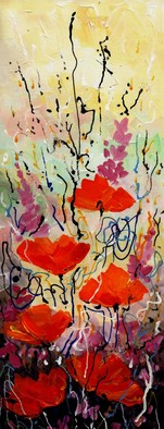 Artist: Samiran Sarkar - Title: Abstract Flower Series 1 - Medium: Acrylic Painting - Year: 2010