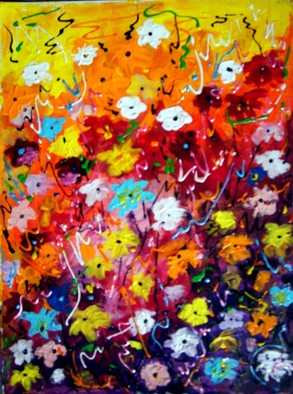 Artist: Samiran Sarkar - Title: Abstract Flower Series 2 - Medium: Acrylic Painting - Year: 2010