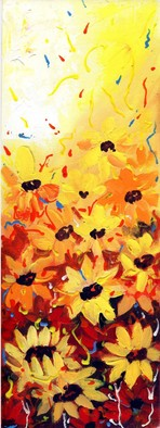 Artist: Samiran Sarkar - Title: Abstract Flower Series Sunflowers - Medium: Acrylic Painting - Year: 2010