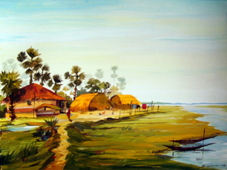 Landscape Acrylic Painting by Samiran Sarkar Title: Beauty of Bengal Village, created in 2010