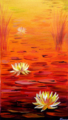 Artist: Samiran Sarkar - Title: Beauty of Pond  and Lotus - Medium: Acrylic Painting - Year: 2011
