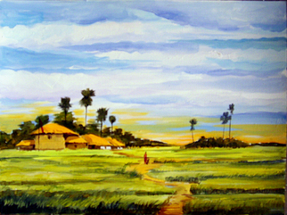Landscape Acrylic Painting by Samiran Sarkar Title: Beauty of  Rural Bengal, created in 2010