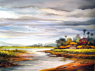 Landscape Acrylic Painting by Samiran Sarkar Title: Bengal village at Rainy Season, created in 2010