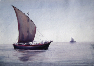 Samiran Sarkar Artwork Boat , 2009 Watercolor, Sailing