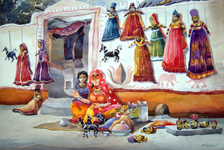 Artist: Samiran Sarkar - Title: Puppet Makers in village - Medium: Watercolor - Year: 2008