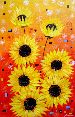 Artist: Samiran Sarkar - Title: Sunflowers Beauty - Medium: Acrylic Painting - Year: 2011