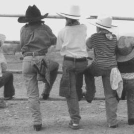 Sam Mcgarrell: 'Wildbunch', 2003 Black and White Photograph, Western. Artist Description: b& w photo mounted 16x20...