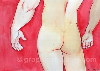 Sam Thorp: 'Male Red', 2013 Watercolor, Figurative. Celebration of various body types. Watercolor with ink finish on heavy bond paper. Watermark does not appear on actual work. This is the original, not a print/ reproduction. ...