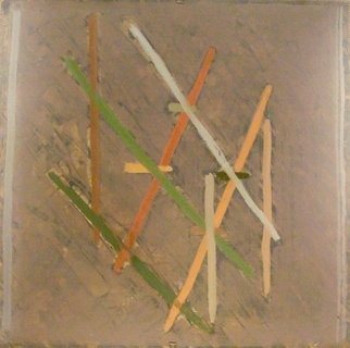 Samuel Bintz: 'Pick Up Sticks', 2007 Oil Painting, Vintage.  This is an abstract gesture which i really enjoyed the mood of.  It is very old- fashioned and based on intersection and analogies of hue and tone.  ...