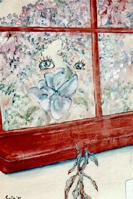 Acrylic Painting by Sandi Carter Brown titled: Seeing Through the Pane, 2003