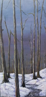 Acrylic Painting by Sandi Carter Brown titled: Winter Trees, 2013