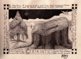 Sandra Bray: 'Certainties', 2006 Other Drawing, Peace.  With ink on canvas, this artwork addresses some of the certainties in the process of evolving towards peace.  ...