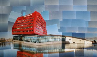 Color Photograph by Sandra Maarhuis titled: Red building in Houten, the Netherlands, created in 2009
