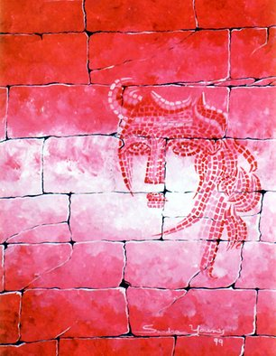 Artist: Sandra Younes - Title: The Reddish Look - Medium: Acrylic Painting - Year: 1999
