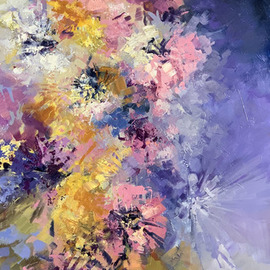 Sandra Zekk: 'drop of light', 2019 Oil Painting, Floral. Artist Description: This piece features gorgeous shades of violet and rose with touches of silver that beautifully shimmers when it catches the light. ...