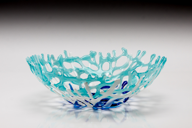 Sandy Feder  'Aqua Coral Bowl', created in 2017, Original Glass Fused.