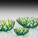 green coral bowl set By Sandy Feder