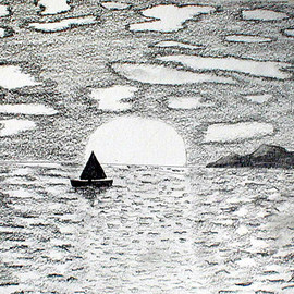 Sandy Wager: 'Drifting', 2009 Pencil Drawing, Seascape. Artist Description:  I love to use graphite but have too many projects in my head to draw with pencil as much as I would like. I have to admit that acrylics are my favorite media.With this drawing, I looked at it from a distance and felt so calm. I ...