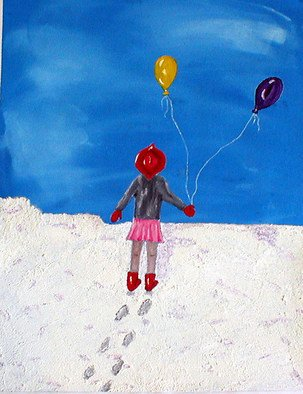 Sandy Wager: 'Victoria', 2008 Acrylic Painting, Abstract Figurative.  I discovered snow paint and just had to try it with acrylics. Victoria is painted from childhood dreams. Simple, effective but lonely too! ...