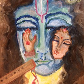 Sangeetha Bansal: 'Eternal devotion', 2014 Oil Painting, People. Artist Description:  Oil painting of Radha and Krishna lost in love. The art depicts eternal devotion. ...