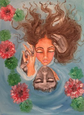 Sangeetha Bansal: 'Floating in love', 2016 Oil Painting, People. Artist Description:  Original oil painting of a couple in love. They are floating in a lake and surrounded by flowers. The flowers signify love blossoming and the water shows that they are drowning in their passion. Its a very romantic art. ...