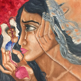 Sangeetha Bansal: 'Missing you', 2016 Oil Painting, Love. Artist Description:  Oil painting of a woman missing her lover. He has passed away and is no longer with her. He is with her in spirit though and will always be. She longs for his touch as she looks at his picture. She cannot see him but can feel his ...