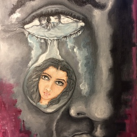 Sangeetha Bansal: 'Tears of memory', 2015 Oil Painting, People. Artist Description: Oil painting of a man crying for his beloved. Her face is reflected in his tears. ...