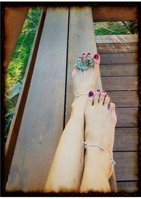 Sangeetha Bansal: 'Too pretty to walk', 2015 Color Photograph, People.  Photograph of feet with jewellery on it ...