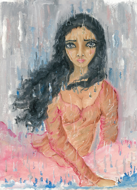 Sangeetha Bansal  'Woman Crying In The Rain', created in 2013, Original Mixed Media.