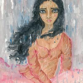 Woman crying in the rain