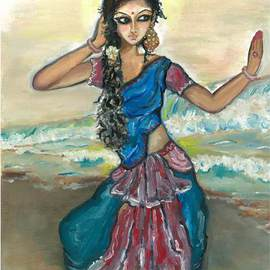 Sangeetha Bansal: 'Woman dancing by the sea', 2013 Oil Painting, People. Artist Description: Oil painting of a lady dancing by the sea in colorful clothes and waves crashing in the backgroundpainted on a canvas board...