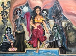 Sangeetha Bansal: 'bath', 2016 Oil Painting, Fantasy.  Original oil painting of an apsara celestial dancer, about to take a bath. Her handmaidens are helping her prepare for it. Its a very regal piece of art with shades of black and white and color. Its set against the backdrop of a starry night.apsara, bath, handmaidens, night, lamps...