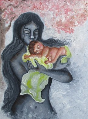 Sangeetha Bansal: 'embrace', 2018 Oil Painting, Family. Artist Description: Original oil painting of a mother embracing her child. There is love and tenderness in her gesture. The baby is sleeping peacefully in her mothers arms. This art is a tribute to mothers all over the world. It is my way of thanking them for their selfless, tireless ...
