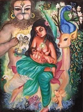 Sangeetha Bansal: 'heart chakra goddess', 2019 Oil Painting, Spiritual. Original oil painting of the heart chakra goddess.  Heart chakra or the aEUR~AnAhataaEURtm chakra is the fourth chakra.  Unconditional love is primarily associated with it.  The gentle doe is the animal associated with the chakra and green is the primary color of the chakra.  In my art, I have ...