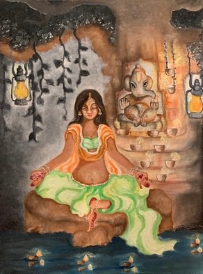Sangeetha Bansal: 'meditating with ganesha', 2019 Oil Painting, Spiritual. Ganesha or Ganapati is the most well known Hindu deity. Ganesha is widely revered as the remover of obstacles. As the god of beginnings, he is honoured at the start of rites and ceremonies and worshipped before beginning any task.Ganesha has the head of an elephant and body of ...