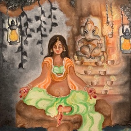 meditating with ganesha  By Sangeetha Bansal