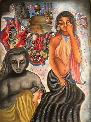 Sangeetha Bansal: 'obeisance', 2017 Oil Painting, Love. Artist Description: Oil painting about love. Of a love so deep, it could be a prayer, it could be worship. Its about a love so passionate that it makes you bow down your head in awe. its a love that fills your body and soul with deep reverence. The backdrop ...