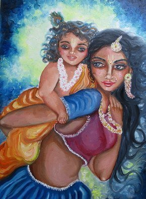 Sangeetha Bansal: 'playing with child', 2018 Oil Painting, Family. Artist Description: Original oil painting of a mother playing with her child. The art depicts the Hindu God Krishna as a baby, enjoying with his divine mother- Yashoda. He is riding on his mother s back and laughing blissfully. The art is tender, filled with love. It captures a beautiful, ...