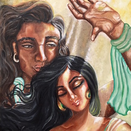 Sangeetha Bansal: 'soulmates', 2017 Oil Painting, Love. Artist Description: Oil paintaing of soulmates. He shields his sleeping bride from the sun s rays as she dreams of future bliss. This art shows how tender, mundane acts of love can enrich ones life. A very simple but deeply touching gesture.romance, beauty, peace, couples , care, lovers, love, soulmate...