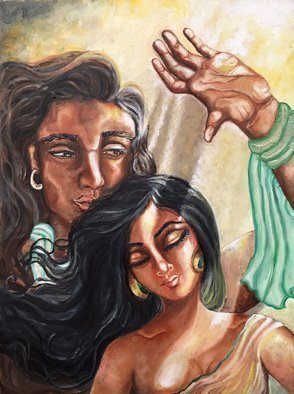 Sangeetha Bansal: 'soulmates', 2018 Oil Painting, Love. Artist Description: Oil paintaing of soulmates. He shields his sleeping bride from the sun s rays as she dreams of future bliss. This art shows how tender, mundane acts of love can enrich ones life. A very simple but deeply touching gesture. Its these little things that keep a relationship ...