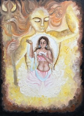 Sangeetha Bansal Artwork sun moon universe in harmony, 2016 Oil Painting, Fantasy